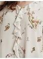 LC Waikiki Fırfır Detaylı Çiçek Desenli Krep Bluz Ekru